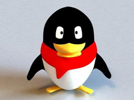 Penguin with Scarf Logo 3d model