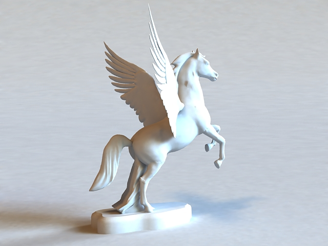 Winged Horse Statue 3d model