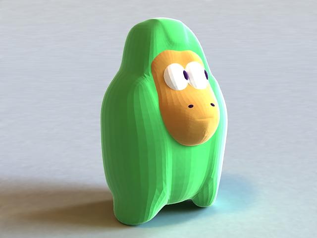 Green Gorilla Doll 3d model