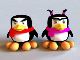 Female & Male Cartoon Penguin 3d model
