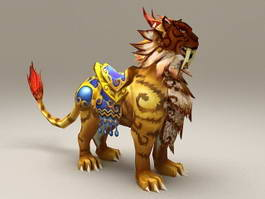 Mythical Yellow Lion 3d model
