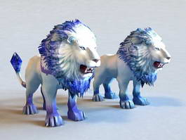 Blue and White Lions 3d model