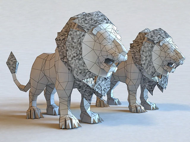 Blue And White Lions 3d Model 3ds Max Files Free Download
