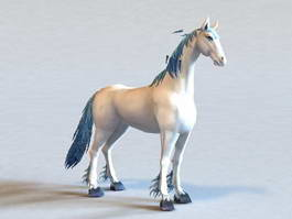 Fantasy White Horse 3d model