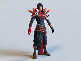 Young Warrior with Black Armor 3d model