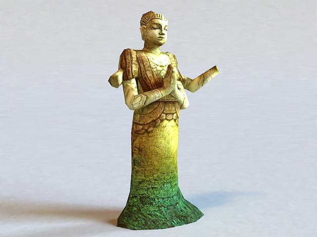 Broken Buddha Statue 3d model