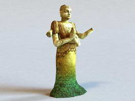 Broken Buddha Statue 3d model