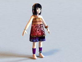 Little Asian Girl 3d model