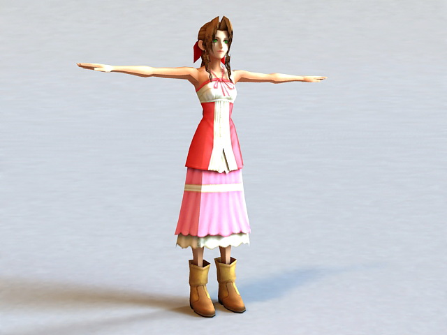 Aerith Gainsborough - Final Fantasy character 3d model