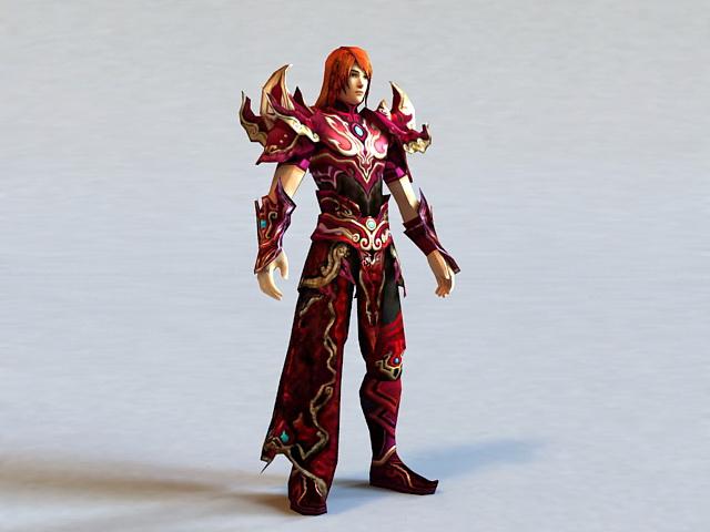 Anime Red Warrior 3d model