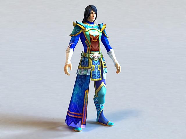 Blue Male Anime Warrior 3d model