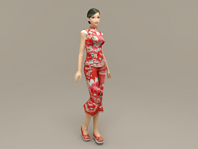 Traditional Chinese Woman 3d model