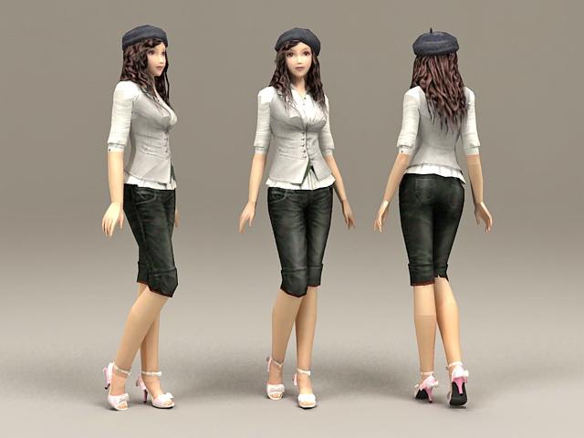 Casual Asian Girl 3d model