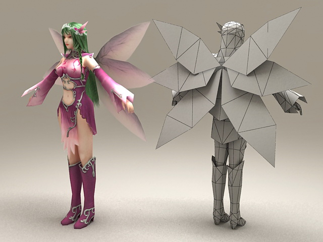 Purple Fairy 3d model 3ds Max files free download - modeling