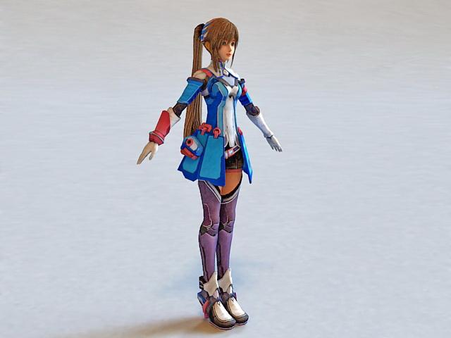 Cool Anime Girl Fighter 3d model