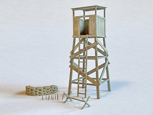 Guard Tower & Sandbag 3d model