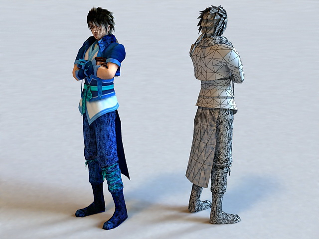 cool anime guy 3d model 3ds max files free download modeling 37077