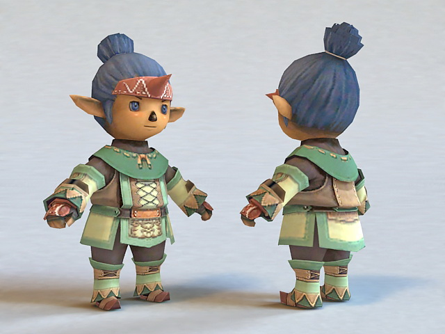 Elf Chibi Boy 3d model