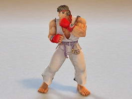 Ryu Street Fighter Animated & Rigged 3d model