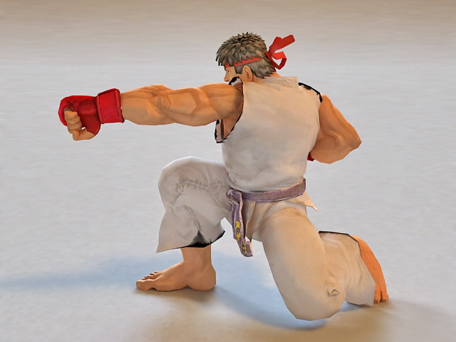 Ryu Street Fighter Animated Amp Rigged 3d Model 3ds Max