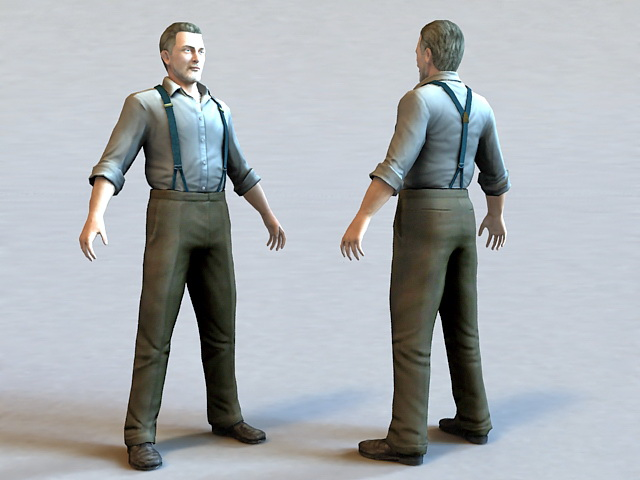 Middle-aged Male Character 3d model