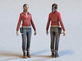 Female Police Officer 3d model