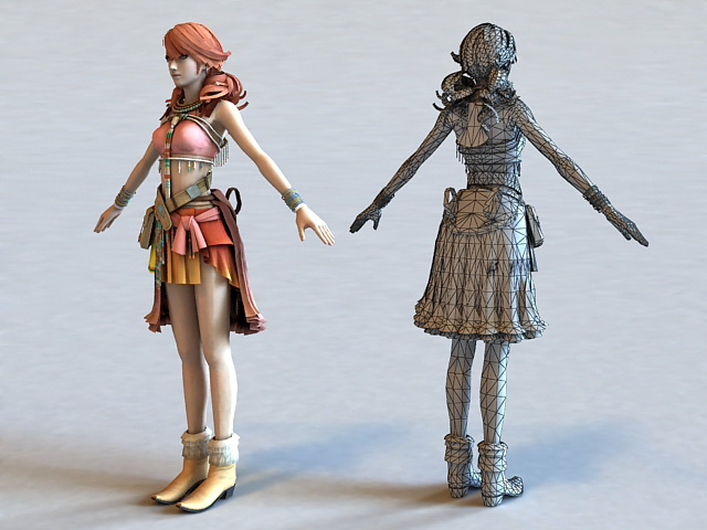 Vanille Final Fantasy Character 3d Model Object Files Free