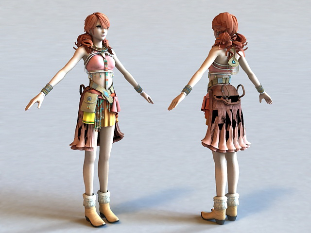 Vanille Final Fantasy Character 3d model