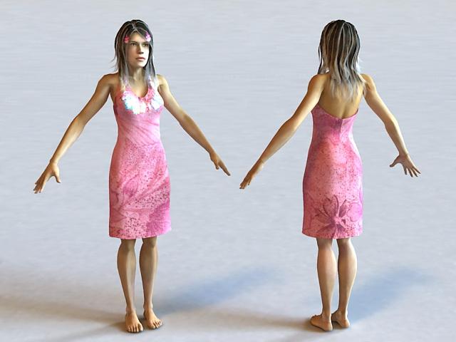 Hawaiian Woman 3d model