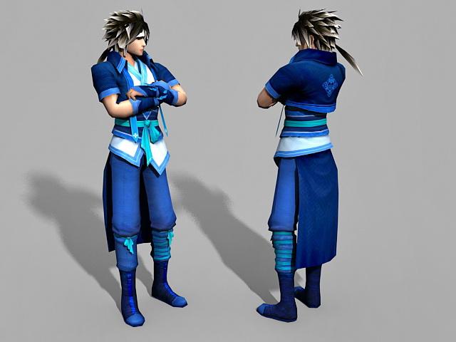 Anime Guy with Black Hair 3d model
