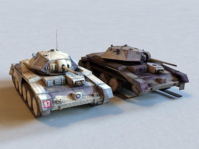 WW2 Crusader Tank & Destroyed 3d model