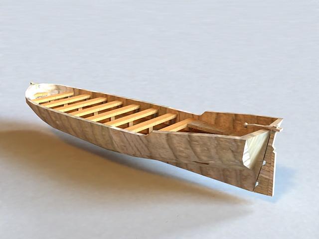 Wooden Canoe 3d model