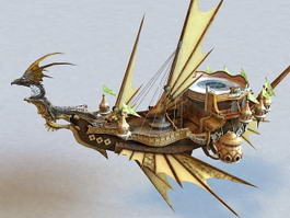 Steampunk Dragon Airship 3d model