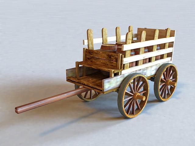 Old Wooden Barrel Cart 3d model