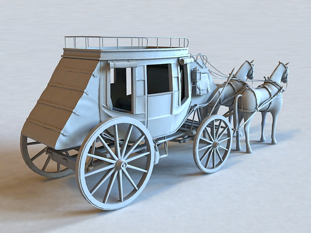 Vintage Horse and Carriage 3d model 3ds Max files free ...