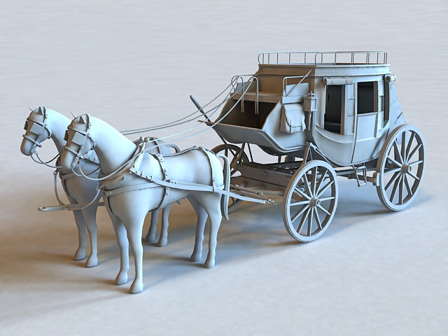 Vintage Horse and Carriage 3d model