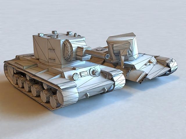 Destroyed KV-2 Tank 3d model 3ds Max files free download - modeling