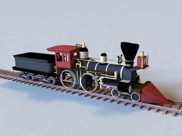 Old Vintage Train and Rail 3d model