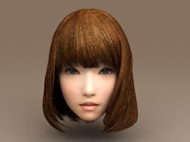 Asian Girl Head 3d model