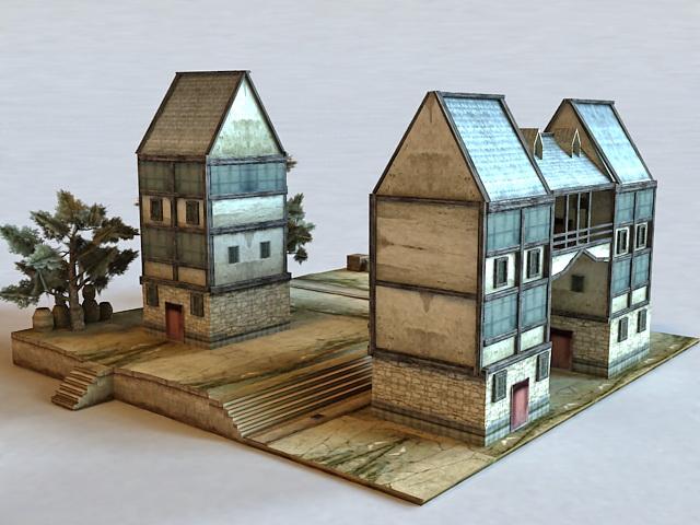 Medieval Town Buildings 3d model
