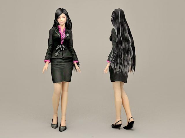 Fashion Office Girl 3d model