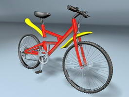 Red & Yellow Mountain Bike 3d model