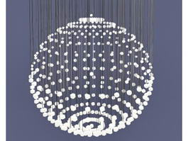 Rain Drop Crystal Chandelier 3d model