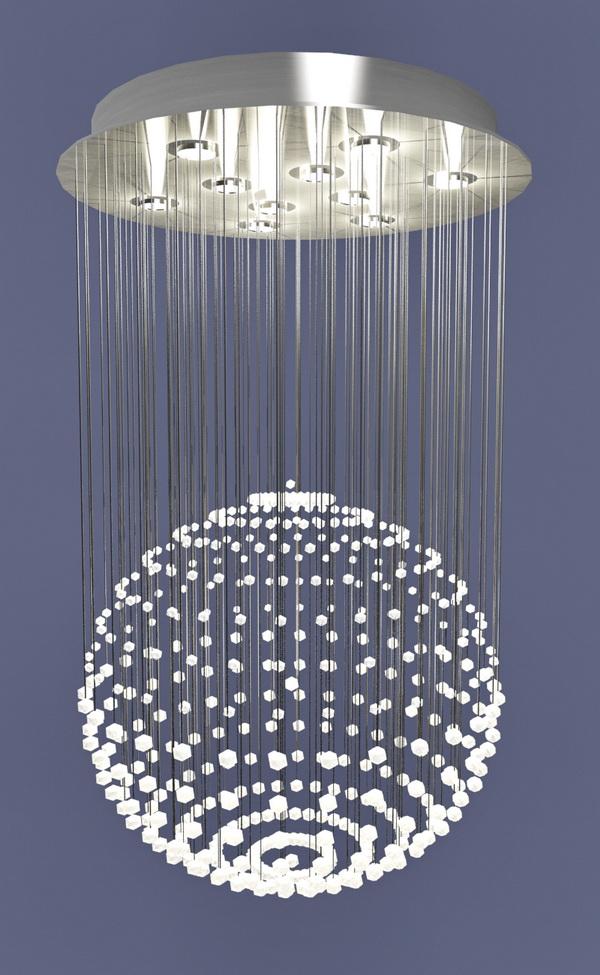 Rain Drop Crystal Chandelier 3d model
