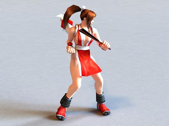 Mai Shiranui Rigged & Animated 3d model