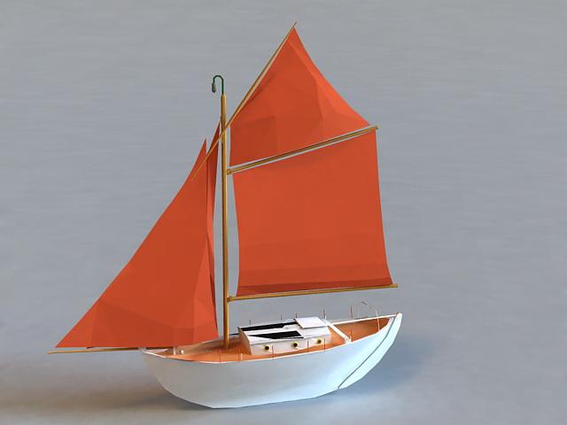 Old Sailboat 3d model