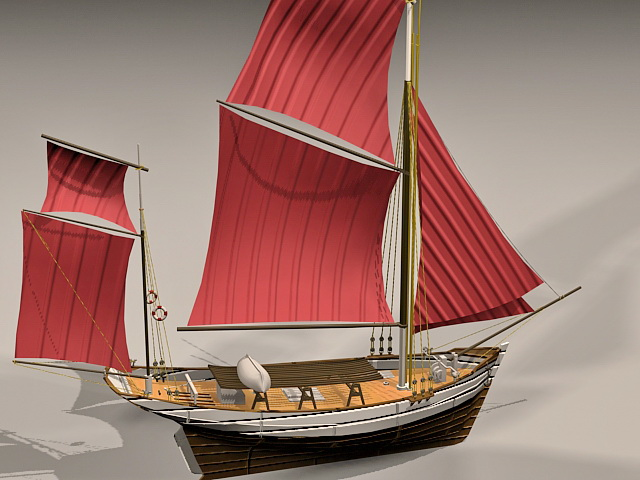 Thonier de Concarneau France Sailingboat 3d model