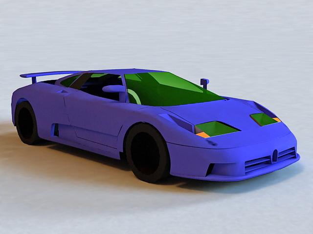 Blue Sports Car 3d model