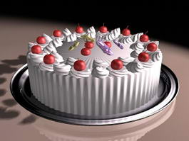 Fresh Fruit Cake 3d model