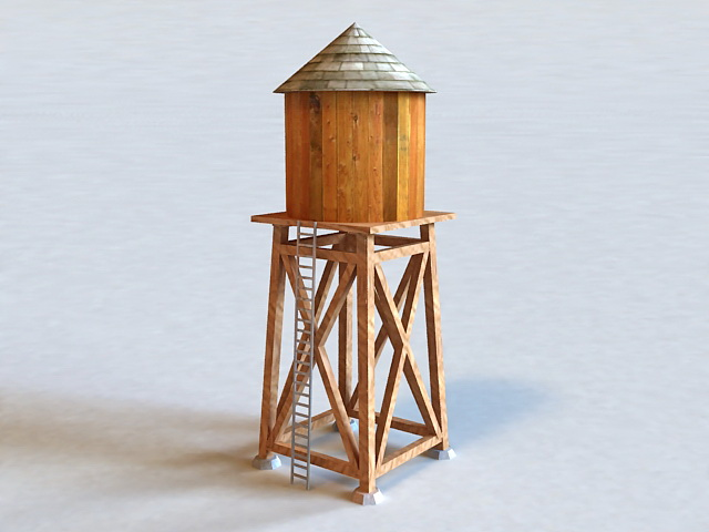 Homemade Water Tower 3d model 3D Studio files free download
